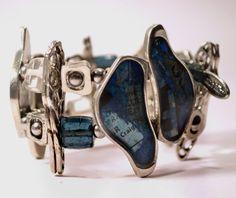 Double row hand painted bleu resin strech by BijouChantaleGelinas, $50.00