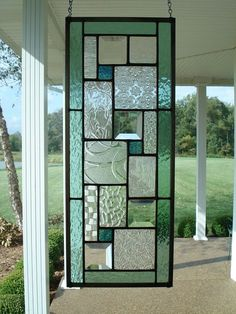 Stained Glass Panel Seafoam Green Window Transom by TheGlassShire