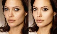 """Angelina Jolie with and without photoshop.  Even beautiful actresses and models aren't """"perfect.""""  Be who you are."""