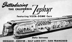 Here comes the train! A lot of photos of California Zephyr 1949 California Zephyr, Train Art, Ways To Travel, Train Travel, Vintage Travel, Trains, Ads, Cutaway, Planes