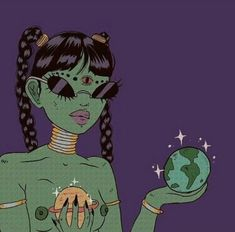 Alien girl by April Lawyer (bape. Art And Illustration, Illustrations, Kunst Inspo, Art Inspo, Art Pop, Psychedelic Art, Dope Kunst, Ligne Claire, Dope Art