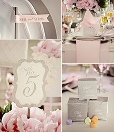 Look Rose et Gris - Loralee Lewis Paper Boutique Grey Wedding Decor, Pink Grey Wedding, Wedding Table, Wedding Reception, Our Wedding, Dream Wedding, Wedding Decorations, Wedding Color Schemes, Wedding Colors