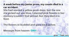 A week before my junior prom, my cousin died in a car accident.