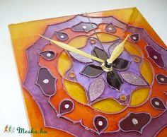 mandala wall clock  Mandala - lila, narancs mandala - egyedi festett üvegóra (Boriboszi) - Meska.hu