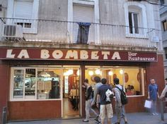 When my sister and I arrived, there was a line down the street.  Fabulous little secret close to the Rambla.  La Bombeta tapas -- Barcelona