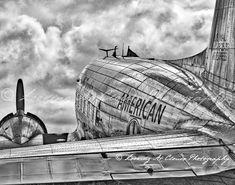 DC-3 American Airlines vintage airplane art by LookingAtClouds