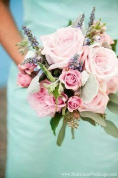 Roses and mint green dress