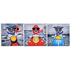 """Modern Art Canvas Painting With Dogs And Route 66 Design For Wall Decor 12""""x12""""x3pcs"""