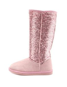 Pink sequin fur lined boots.