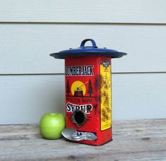 Vintage Syrup Can Birdhouse, Red Birdhouse, Whimsical Birdhouse, One of a Kind, Decorative Birdhouse, Outdoor Birdhouse, Tin Can Birdhouse.   via Etsy.
