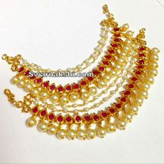Pearl Jewelry, Pearl Necklace, Ear Chain, Gold Jhumka Earrings, Hair Ornaments, Jewelry Design, Blouses, Jewellery, Pearls