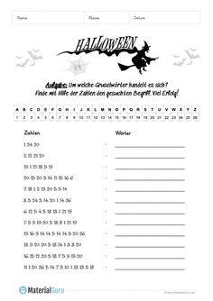 Ein kostenloses Arbeitsblatt zu Halloween, auf dem die Schüler ein Zahlenrätsel zu Halloween lösen sollen. Jetzt kostenlos downloaden! Halloween Crafts For Kids, Halloween 2019, Diy Crafts For Kids, Happy Halloween, Number Puzzles, Teaching, Free Worksheets, Trends, Halloween Math