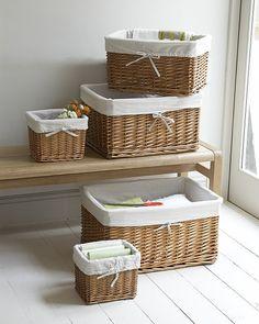 Lined Rattan Wicker Basket Lined Wicker Baskets, Rattan Basket, Basket Organization, Storage Baskets, Laundry Storage, Bathroom Storage, Clothes Storage, Laundry Room, Bathroom Baskets