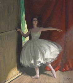 Awaiting her Turn (Ready for her Act) (1924). Dame Laura Knight, R.A. (English, 1877-1970). Oil on canvas.  Knight had painted Pavlova, Lopokhova and Karsavina; mystery surrounds the identity of the dancer in Awaiting her Turn. No other painter, apart from Edgar Degas could catch the effect of the coulisses. Knight acutely exploits the contrast between this solitary figure 'ready for her Act' and the lime-lit scenery in lurid greens beyond the foreground shadows.