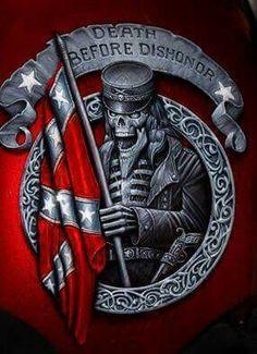 The older warrior is holding the Rebel flag.