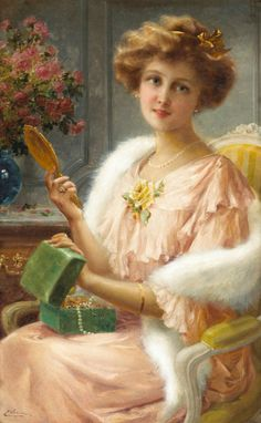"""A young lady with a mirror"" by Emile Vernon (1872-1919) WHO'S THE FAIREST OF THEM ALL"