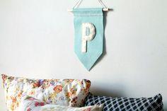 Personalized Felt Flag Banner Wall Hanging // Custom Nursery Decor // You Choose Color // Unisex // Handmade by OrdinaryMommy on Etsy
