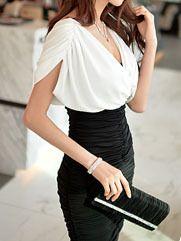 $108.00- FLAT RUFFLE COLLAR A-LINE DRESS   BLACK