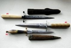 19th Century Gambler's Dirks-decended from the 18th Century Naval Dirk (not to be confused with the single-edged Scottish Dirk), they were hidden in waistbands, boots, up sleeves and stuck into garters, a discreet way to protect one's winnings