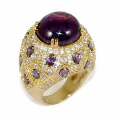 sabahs 14k gold moroccan style purple cocktail ring
