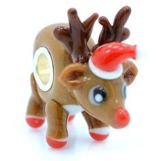 Red Nose Reindeer Christmas Lampwork Glass Bead Charm