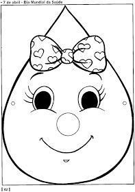 Máscaras de gotinha, gota da vacinação, saúde - ESPAÇO EDUCAR Art Drawings For Kids, Drawing For Kids, Easy Drawings, Colouring Pages, Coloring Sheets, Cycle Drawing, World Water Day, Paper Crafts For Kids, Cycling Art