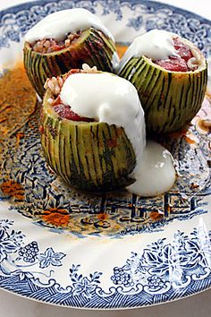 Stuffed courgette with minced meat and yoghurt. Stuffed courgette with minced meat and yoghurt. Armenian Recipes, Turkish Recipes, Turkish Kitchen, Good Food, Yummy Food, Delicious Meals, Eastern Cuisine, Middle Eastern Recipes, Arabic Food