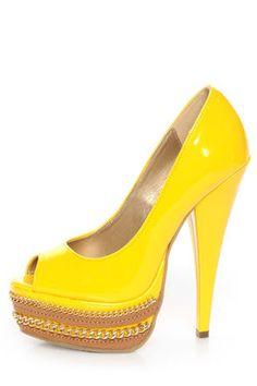 Shoe Republic LA Leisure Yellow Patent Chained Platform Pumps - $42.00