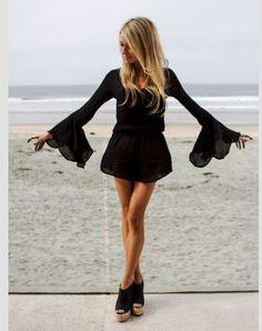 black bell sleeve mini dress