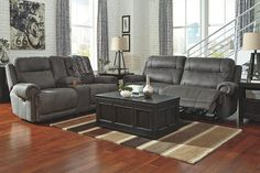 Gray Austere Reclining Sofa View 3