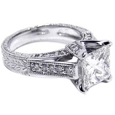 Engagement Ring - Princess Diamond Vintage Pave Cathedral Engagement Ring