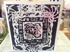 Wedding card using various dies including tonic and spellbinders
