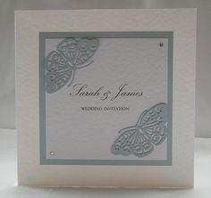 Flutterby Wedding Invitation, Handmade, Blue, Butterfly, Fairytale