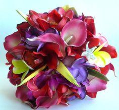 Stunning Tropical Destination Wedding Bouquet of calla lilies and orchids Tropical Wedding Bouquets, Wedding Flowers, Tropical Weddings, Romantic Wedding Hair, Dream Wedding, Wedding Memorial, Wedding Centerpieces, Centerpiece Ideas, Floral Arrangements