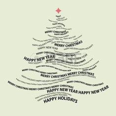 natale bianco e nero: Forma di albero di Natale dalle parole - composizione tipografica - vettore Vettoriali