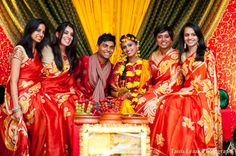 red orange and yellow indian wedding