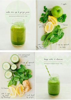 Green smoothies with spinach, lemon, cucumber and apple. We love the addition of ginger too!