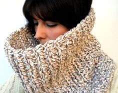 Natural Beige J Cozy Cowl Super Soft Wool by GiuliaKnit on Etsy