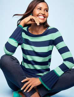 We elevated a basic crewneck sweater with pleated-flounce sleeves that provide a fashion-forward spin and bicolor stripes that make it fun and easy. | Talbots
