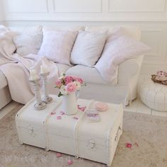White and pink living room