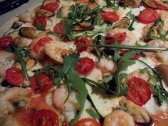 Passione Per Cucina: king prawns, mussels, tomatoes, courgettes, chilli and rocket
