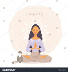 Amazing cartoon girl in yoga lotus pose with cute cat. Young and happy woman meditates. Yoga Cartoon, Girl Cartoon, Meditation Art, Yoga Art, Yoga Illustration, Digital Illustration, Cartoon Drawings, Cute Drawings, Yoga Kunst
