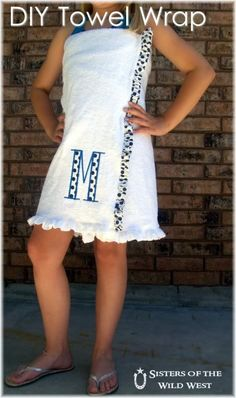 {DIY sew towel wrap} You can add your initials to customize this, and it also doubles as a swimsuit cover-up! :)