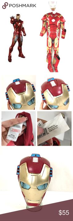 •BOY• Iron Man- Mask- Halloween costume COSTUME: Marvels Iron Man   SIZE: - one size/large see tags   CONDITION: gently used- mask has battle scars lol still lights up and makes sound   # OF PIECES 2- suit and mask   AVL COSTUME MATCHES? Yes other superheroes Marvel Costumes Halloween