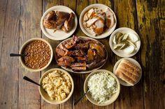 The Salt Lick Potato Salad Cold Side Dishes, Airport Food, Vinaigrette Salad Dressing, Shish Kebab, Grilling Sides, Best Bbq, Cooking On The Grill, Seafood Restaurant, Pork Ribs