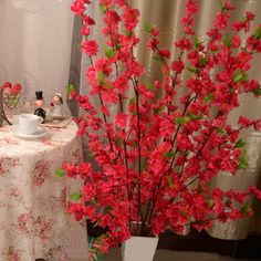 50inch Artificial Cherry Spring Plum Peach Blossom Branch Silk Flower Tree Decor P5 #Affiliate