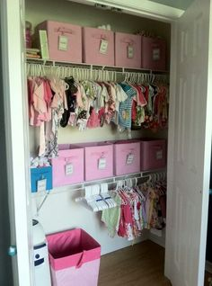 Storage idea for baby closet... add a second lower shelf. Maybe one that doesn't go all the way across? Labeled baskets for blankets and crib sheets, the big stuff!