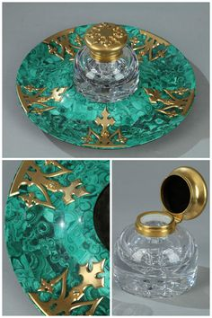 Malachite and gilt bronze inkwell