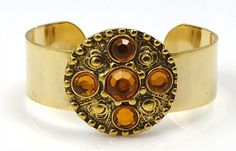 Gold and Amber Cuff  Bracelet by TashaHussey on Etsy, $60.00