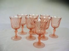 Pink depression glass.